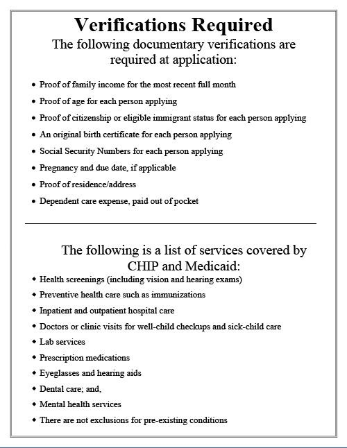 Verifications required at application.